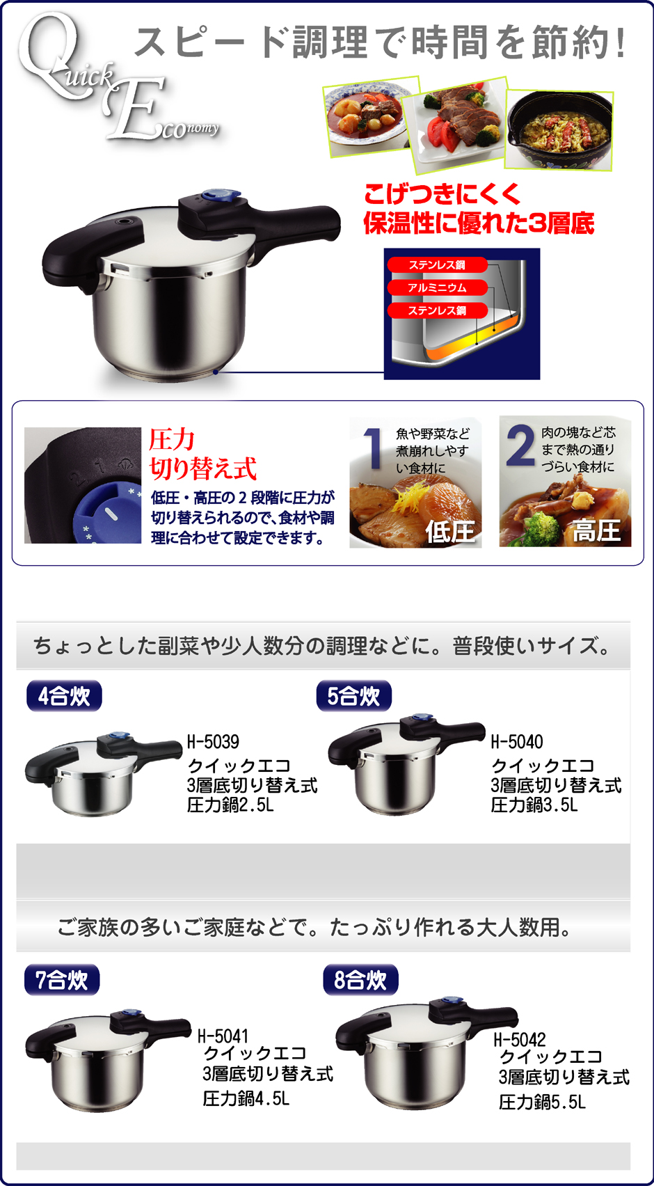パール金属 [8合炊] 3層底切り替え式圧力鍋 クイックエコ 5.5L H-5042